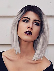 cheap -Synthetic Wig Straight Straight Bob Wig Short Brown Grey Pink Green Synthetic Hair Women's Ombre Hair Dark Roots Side Part Black