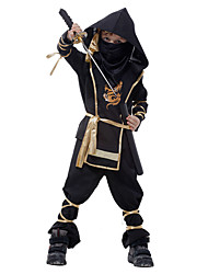 cheap -Ninja Primitive Zentai Suits Cosplay Costume Kid's Boys' Halloween Carnival Children's Day Festival / Holiday Terylene Carnival Costumes Solid Colored / Leotard / Onesie / Mask / Leotard / Onesie