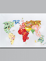 cheap -Colorful World Map Oil Painting Hand Painted Modern Abstract Decorative Canvas Picture for Living Room Wall Art Artwork With Frame