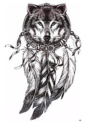 cheap -1-pcs-wolf-with-feather-21x15cm-cool-beauty-tattoo-waterproof-temporary-tattoo-stickers