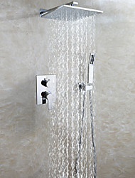cheap -Contemporary Wall Mounted Rain Shower Handshower Included Ceramic Valve Two Handles Three Holes Chrome , Shower Faucet