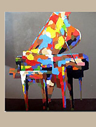 cheap -Hand Painted Colorful Piano Oil Painting Modern Abstract Musical Instrument Canvas Painting for Bedroom Wall Art Artwork Ready Made Frame