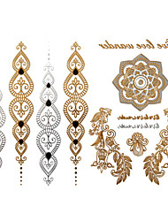 cheap -1Pc Gold And Silver Long Bracelet Tattoo Sticker 23x15.5CM