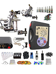 cheap -BaseKey Tattoo Machine Starter Kit - 2 pcs Tattoo Machines with 10 x 5 ml tattoo inks, Professional Mini power supply Case Included 2 steel machine liner & shader