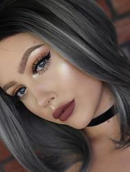 Недорогие -Синтетические кружевные передние парики Естественные волны Естественные волны Лента спереди Парик Средние Серый Искусственные волосы Жен. Природные волосы Серый