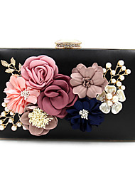 cheap -Women's Imitation Pearl / Crystal / Rhinestone / Flower Polyester Evening Bag Floral Print Black / Wine / White