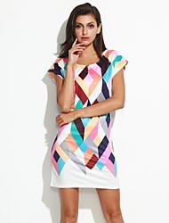 cheap -Women's White Dress Street chic Summer Going out Sheath Color Block Print S M Slim