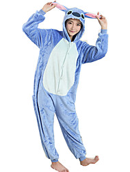 cheap -Adults' Halloween Props Kigurumi Pajamas Cartoon Blue Monster Onesie Pajamas Flannel Toison Blue Cosplay For Men and Women Animal Sleepwear Cartoon Festival / Holiday Costumes