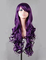 cheap -synthetic lolita 80cm long purple wavy women s costume wig cosplay full wig Halloween