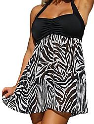 abordables -Femme Grandes Tailles Licou Noir Jupe Tankinis Maillots de Bain - Animal Imprimé XL XXL XXXL Noir