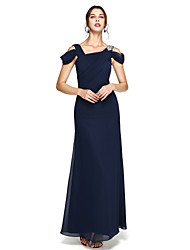 cheap -Sheath / Column Open Back Prom Formal Evening Dress Straps Sleeveless Floor Length Chiffon with Pleats Beading Side Draping 2020