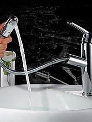 cheap -Contemporary Centerset Pullout Spray Ceramic Valve Single Handle One Hole Chrome, Bathroom Sink Faucet