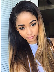 cheap -Unprocessed Human Hair Glueless Lace Front / Lace Front Wig Brazilian Hair Wig 130% Ombre Hair / Natural Hairline / African American Wig Women's Long Human Hair Lace Wig / Straight