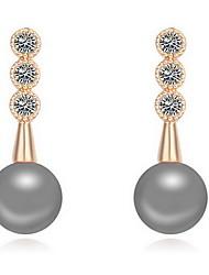 cheap -Women's Pearl Stud Earrings Luxury Natural Zircon Cubic Zirconia Earrings Jewelry Copper / Light Blue / Light Green For Daily