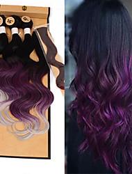 cheap -Braiding Hair Deep Wave Ombre Hair Weaves / Hair Bulk Synthetic Hair 1pack Hair Braids Lace Closure Brazilian Hair