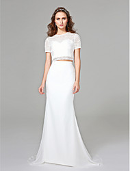 cheap -Mermaid / Trumpet / Two Piece Bateau Neck Sweep / Brush Train Chiffon / Lace Short Sleeve Made-To-Measure Wedding Dresses with Lace 2020