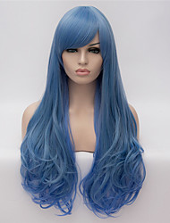 cheap -cosplay wigs blue gradient color wig wigs in europe and america fashion partial points 26 inch long curly hair Halloween