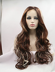 cheap -sylvia synthetic lace front wig dark brown with blonde highlighted natural wave heat resistant synthetic wigs