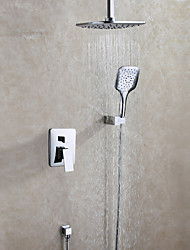 cheap -Contemporary Shower System Rain Shower Handshower Included Ceramic Valve Two Handles Three Holes Chrome , Shower Faucet
