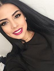 cheap -100 brazilian yaki straight virgin human hair glueless lace front wigs for women