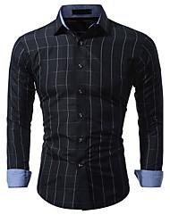 cheap -Men's Daily Cotton Shirt - Color Block Black / Long Sleeve