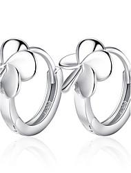 cheap -Women's Hoop Earrings Flower Flower Ladies Sterling Silver Earrings Jewelry Silver For Wedding Party Daily Casual