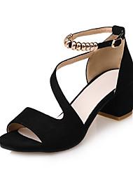 cheap -Women's Sandals Block Heel Sandals Chunky Heel / Block Heel Peep Toe / Open Toe Beading / Buckle Leatherette Comfort / Light Soles / Club Shoes Spring / Summer Black / Red / Almond / Party & Evening