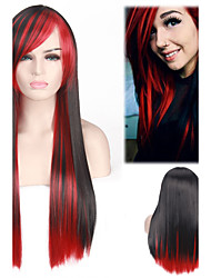 cheap -Black Mixed Red Color Long Length Straight Fashion Popular Style Heat Resistant Synthetic Wigs for Women Cosplay Party Hair