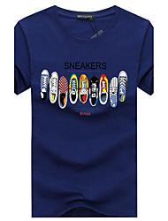 abordables -Tee-shirt Grandes Tailles Homme, Graphique - Coton Imprimé Sports Simple Col Arrondi Gris / Manches Courtes / Eté