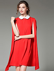 cheap -Women's Red Black Dress Spring Work Loose Solid Colored Peter Pan Collar S M