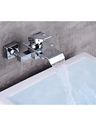 cheap -Bathtub Faucet Contemporary and Waterfall  Wall Mounted Ceramic Valve Chrome Bath Shower Mixer Taps with Cold and Hot Water