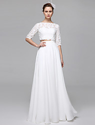 cheap -Two Piece / A-Line Bateau Neck Floor Length Chiffon / Corded Lace Half Sleeve Formal Separate Bodies / Illusion Sleeve Wedding Dresses with Draping / Appliques 2020