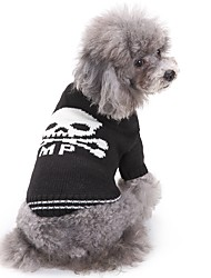 cheap -Cat Dog Sweater Winter Dog Clothes White / Black Costume Acrylic Fibers Skull Casual / Daily Fashion Halloween XS S M XL