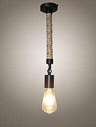 abordables -La lumière pendante de corde de chanvre a peint la lumière ambiante finit en métal style mini, les concepteurs 110-120v / ampoule de 220-240v non inclus / e26 / e27
