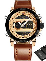 cheap -NAVIFORCE Men's Sport Watch Military Watch Wrist Watch Genuine Leather Black / Brown 30 m Water Resistant / Waterproof Alarm Calendar / date / day Analog - Digital Fashion - Coffee Black / Gold Gold