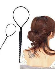 cheap -2 pcs sets of ponytail hair braider creator plastic loop styling tools black topsy tail clip hair braid styling tool