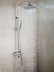 cheap -Contemporary Wall Mounted Rain Shower Handshower Included Thermostatic Brass Valve Two Handles Three Holes Chrome , Shower Faucet