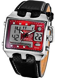 Недорогие -Муж. Модные часы электронные часы Кварцевый Цифровой Кожа Черный Аналоговый Красный