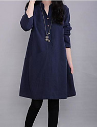 cheap -Women's Daily Weekend Casual A Line Dress - Solid Colored Stand Fall Green Navy Blue Wine XL XXL XXXL