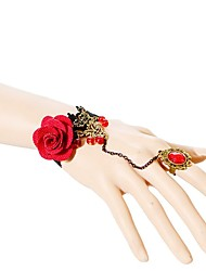 cheap -Women's Chain Bracelet Flower Fashion Lace Bracelet Jewelry Red For Wedding Party Special Occasion Birthday Engagement Gift