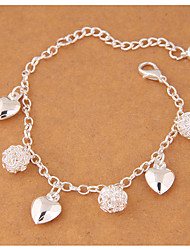 cheap -Women's Charm Bracelet Heart Ladies Fashion Alloy Bracelet Jewelry Silver For Party