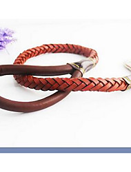 cheap -Dog Leash Adjustable / Retractable Solid Colored PU Leather Black Brown