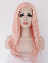 cheap -18 synthetic lace front wigs heat resistant pink color handmade natural wave synthetic lace front wig on sale