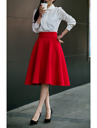 cheap -Women's Daily / Going out Street chic Plus Size Cotton A Line Skirts - Solid Colored Pure Color High Waist Blushing Pink Wine Royal Blue L XL XXL