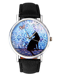 cheap -Women's Fashion Watch Quartz Quilted PU Leather Black / White / Blue Analog White Black Blue