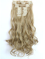 cheap -12pcs set 150g golden blonde wavy hair extension clip in synthetic hair extensions