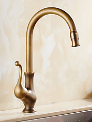 cheap -Antique Copper Kitchen Faucet ,Single Handle One Hole Rotatable Standard Spout Kitchen Taps with Hot and Cold Water