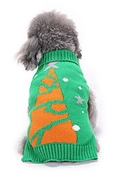 cheap -Cat Dog Sweater Dog Clothes Winter Floral / Botanical Cute Fashion Christmas Green Christmas Tree Pet Clothing