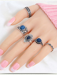 cheap -Jewelry Set Gold Silver Synthetic Gemstones Resin Gold Plated Ladies Unusual Unique Design 5pcs 7 / Women's / Rings Set / Alloy