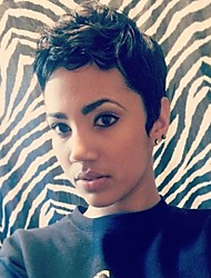 cheap -Human Hair Capless Wigs Human Hair Natural Wave Pixie Cut / Short Hairstyles 2019 / With Bangs Halle Berry Hairstyles Side Part Short Machine Made Wig Women's